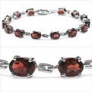 14.00CTW Genuine Garnet .925 Sterling Silver Bracelet