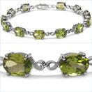 14.40CTW Genuine Peridot .925 Sterling Silver Bracelet