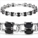 11.90CTW Natural Sapphire Ovals .925 Sterling Silver Bracelet