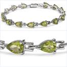 11.25CTW Genuine Peridot .925 Sterling Silver Bracelet