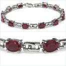 12.00CTW Genuine Ruby .925 Sterling Silver Bracelet