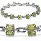 8.10CTW Genuine Peridot .925 Sterling Silver Bracelet