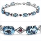 19.80CTW Genuine Blue Topaz & Ruby .925 Sterling Silver Bracelet
