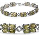 12.96CTW Genuine Peridot .925 Sterling Silver Bracelet