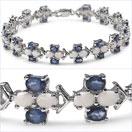 12.42CTW Genuine Blue Sapphire & Opal .925 Sterling Silver Bracelet