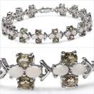 12.42CTW Genuine Opal & Green Sapphire .925 Sterling Silver Bracelet