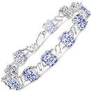 9.60CTW Genuine Tanzanite .925 Sterling Silver Bracelet