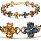14.00CTW Genuine Multi Sapphire .925 Sterling 14K Yellow Gold Plated Silver Bracelet