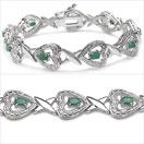 2.45CTW Genuine Emerald .925 Silver Bracelet