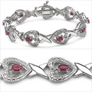 3.17CTW Genuine Ruby .925 Sterling Silver Bracelet