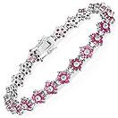 7.00CTW Genuine Ruby & White Diamond .925 Sterling Silver Tennis Bracelet