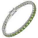 10.25CTW Genuine Peridot .925 Sterling Silver Bracelet