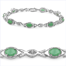 3.76CTW Emerald & White Topaz .925 Sterling Silver Bracelet