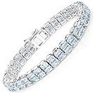 23.80CTW Genuine Blue Topaz .925 Sterling Silver Bracelet