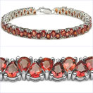 12.00CTW Genuine Orange Sapphire .925 Sterling Silver Bracelet