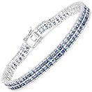 12.24CTW Genuine Blue Sapphire .925 Sterling Silver Bracelet