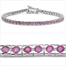3.89CTW Genuine Ruby .925 Sterling Silver Bracelet