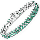 7.92CTW Emerald .925 Sterling Silver Bracelet