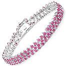 10.80CTW Ruby .925 Sterling Silver Bracelet