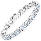 15.22CTW Blue Topaz & White Topaz .925 Sterling Silver Bracelet