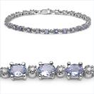 4.65CTW Tanzanite & White Diamond .925 Sterling Silver Bracelet