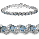 8.09CTW Genuine Blue Sapphire & White Diamond .925 Sterling Silver Bracelet