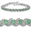 6.49CTW Genuine Emerald & White Diamond .925 Sterling Silver Bracelet