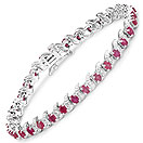 8.09CTW Genuine Ruby & White Diamond .925 Sterling Silver Bracelet