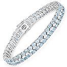 17.33CTW Blue Topaz & White Topaz .925 Sterling Silver Bracelet