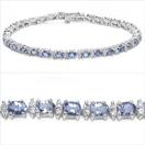 6.46CTW Genuine Tanzanite & White Cubic Zircon .925 Sterling Silver Bracelet