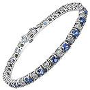 5.34CTW Genuine Tanzanite & White Diamond .925 Sterling Silver Bracelet