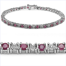 3.77CTW Genuine Ruby & White Diamond .925 Sterling Silver Bracelet