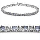 3.25CTW Genuine Tanzanite & White Diamond .925 Sterling Silver Bracelet