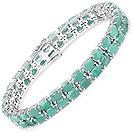 26.40CTW Emerald .925 Sterling Silver Bracelet