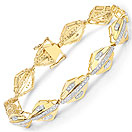 1.07CTW Genuine White Diamond 14K Yellow Gold Plated .925 Sterling Silver Bracelet