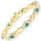 3.15CTW Genuine Emerald 14K Yellow Gold Plated .925 Sterling Silver Bracelet