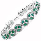 5.70CTW Genuine Emerald .925 Sterling Silver Bracelet