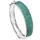 10.29CTW Genuine Emerald .925 Sterling Silver Bangle