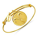 Gold Plated Brass 'Zodiac Symbol for Aries' Embossed on Coin Bangle