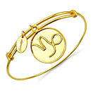 Gold Plated Brass 'Zodiac Symbol for Capricon' Embossed on Coin Bangle