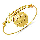 Gold Plated Brass 'Two Hearts Symbol' Embossed on Coin Bangle