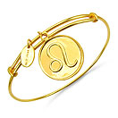 Gold Plated Brass 'Zodiac Symbol for Leo' Embossed on Coin Bangle
