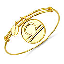 Gold Plated Brass 'Zodiac Symbol for Libra' Embossed on Coin Bangle