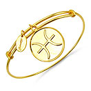Gold Plated Brass 'Zodiac Symbol for Pisces' Embossed on Coin Bangle
