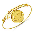 Gold Plated Brass 'Lips Icon Passion Symbol' Embossed on Coin Bangle