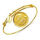 Gold Plated Brass 'Laughing Buddha Face Symbol' Embossed on Coin Bangle