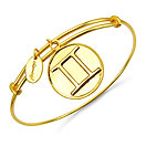Gold Plated Brass 'Zodiac Symbol for Gemini' Embossed on Coin Bangle