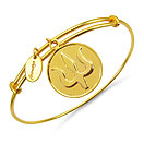 Gold Plated Brass 'Trident Symbol' Embossed on Coin Bangle