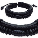 18.5CM Long Adjustable Black Leather Bracelet