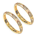 28.91 Grams Maroon Enamel Gold Plated Brass Bangles